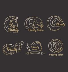 beauty salon logo hairdressing symbols stylized vector image