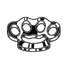 brass knuckle design element for logo label sign vector image