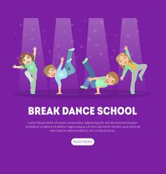break dance school landing page template vector image