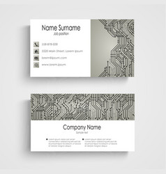 Business card with abstract printed circuit board vector image