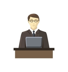 Businessman using his laptop icon cartoon style vector image