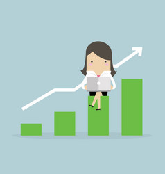 businesswoman with notebook and growing graph vector image