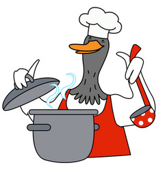 Cartoon duck chef character vector