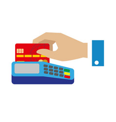 Cash free payment with bank credit card vector