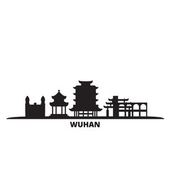 China wuhan city skyline isolated vector