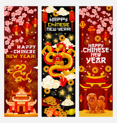 Chinese new year banner with spring festival decor vector
