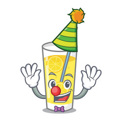 Clown lemonade mascot cartoon style vector