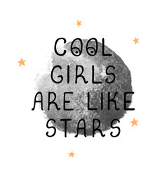 cool girl - fun hand drawn nursery poster with vector image