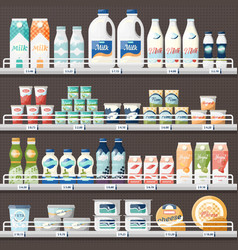 counter with milk and yogurt cheese vector image
