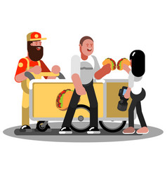 Couple eating mexican food vector