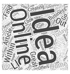 Creating online home business ideas Word Cloud vector