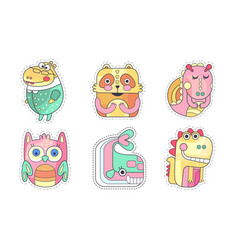 cute animals collection colorful cloth patches vector image