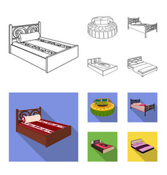 Different beds outlineflat icons in set vector
