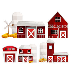 Different designs of barns and silo vector