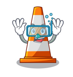 Diving traffic cone on made in cartoon vector