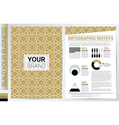 Elegan Gold Circle Pattern book cover template vector image