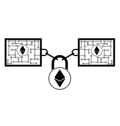Ethereum block chain technology icon disign vector