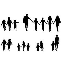 Family and children holding hands silhouettes vector