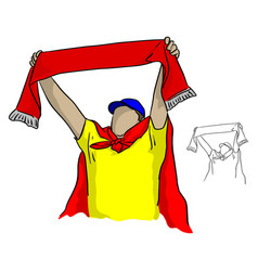 fat male football fan holding a red scarf vector image