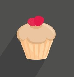 Flat cupcake sign isolated on dark background vector image