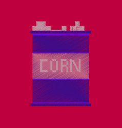 flat shading style icon pixel corn in glass vector image