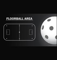 Floorball court and floorball ball realistic vector