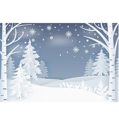 Forest with snowflakes and hills at night vector
