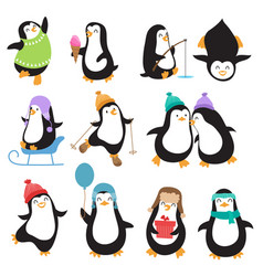 funny christmas penguins characters vector image