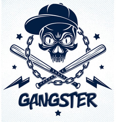 Gang brutal criminal emblem or logo with vector