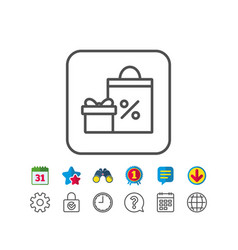 Gift box with shopping bag line icon present vector