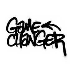 Graffiti game changer text sprayed in black vector