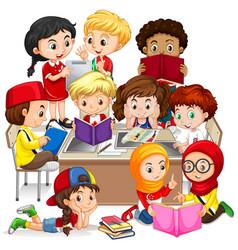 Group of international children learning vector