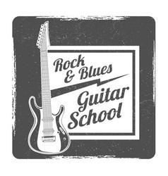 guitar school grunge logo design vector image
