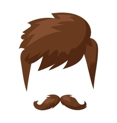 Hairstyles beard and hair face cut mask flat vector