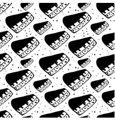Hand drawn seamless pattern with pieces of cakes vector