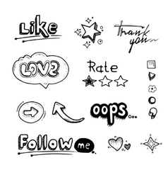 Hand drawn set of speech bubbles with dialog words vector image