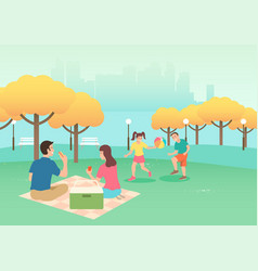 happy family on picnic vector image