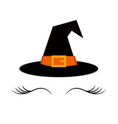 Hat with eyelashes for halloween celebration vector