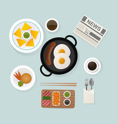healthy breakfast scrambled eggs lunch food top vector image