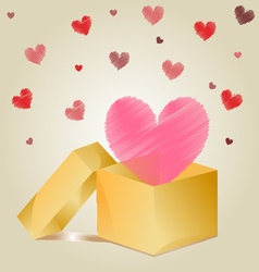 heart in Gift box vector image