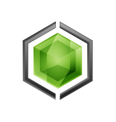 hexagon logo vector image