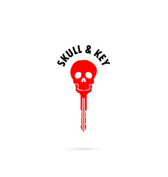 human skull silhouettes and key iconhuman skull vector image