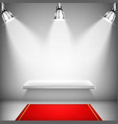 Illuminated Shelf With Red Carpet vector image