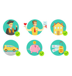 insurance services set protecting property vector image