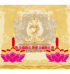 Lotus Oil Lamp with Buddha card vector image