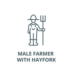 male farmer with hayfork line icon linear vector image