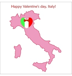 Map of Italy with flag and heart vector