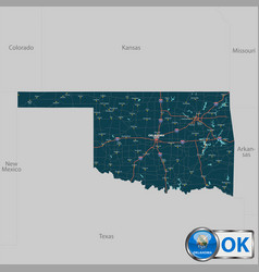 map of state oklahoma usa vector image
