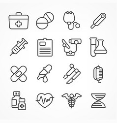 medical line icons on white vector image