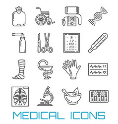 Medicine healthcare and pharmacy thin line icons vector